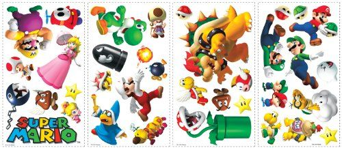 #You've played the game, now bring it to your walls! These wall decals feature Mario, Luigi, Toad, Yoshi, and more of your favorite characters and items from Bri...