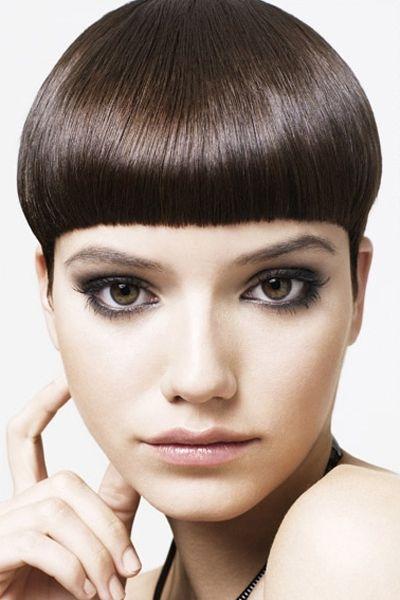 Sleek Dark Brown Mushroom Cut with Bangs  #neva n