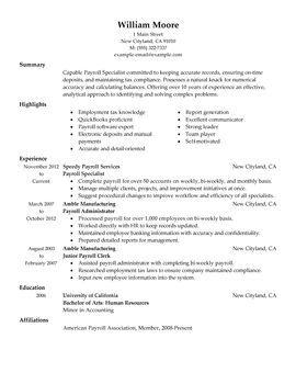 payroll specialist perfect resumeresume examplesaccountingjob