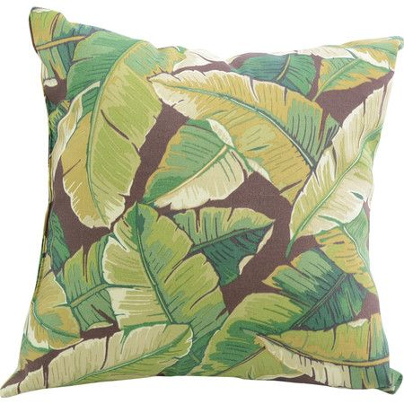 Lend a touch of tropical flair to your porch swing or living room seating group with this lovely pillow, showcasing a palm leaf motif.