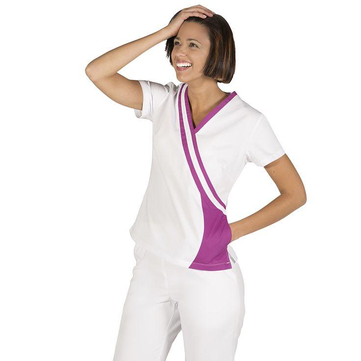 615 blusa sanitario para mujer en color blanco combinado con malva #medico #enfermera #doctor #hospital #batasanidad #ropaestetica