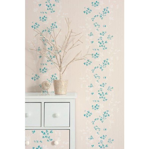 Papier peint esquisse melody turquoise nuanc cas lio papier peint chambre fleurs papier - Pinterest papier peint ...