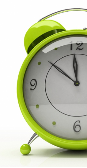 Happy lime green alarm clock - ©Hemul / Dreamstime