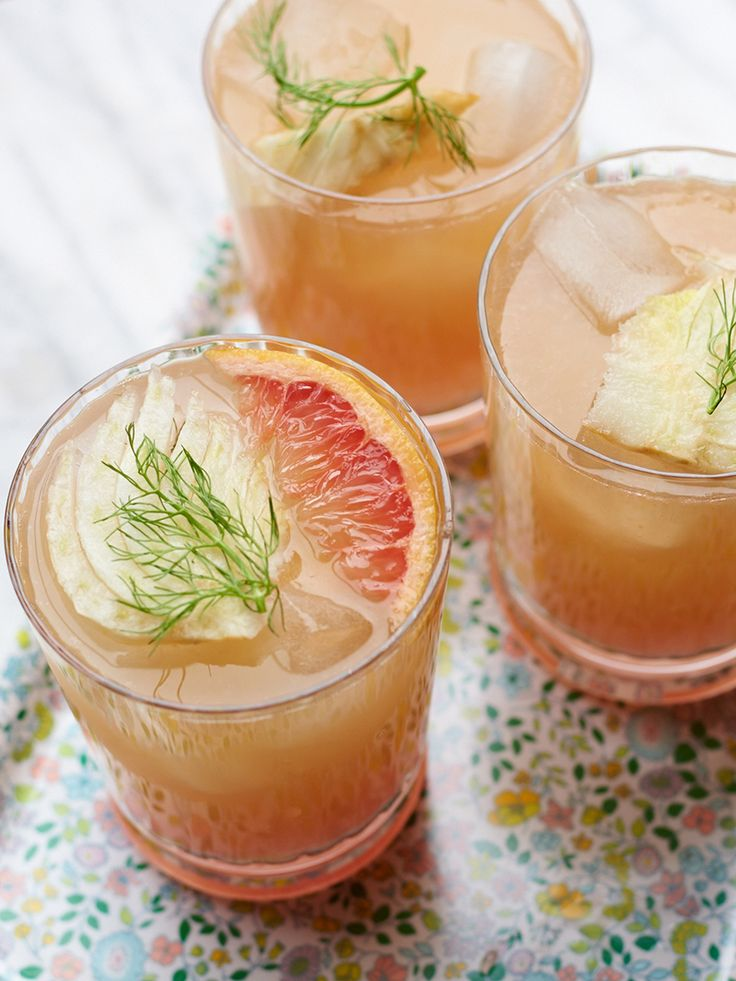 Fennel Grapefruit Cocktail - Celery, Fennel Bulb, Grapefruit Juice, Vodka, Orange Bitters, Soda Water, Fennel Fronds and Grapefruit Peel for Garnish.
