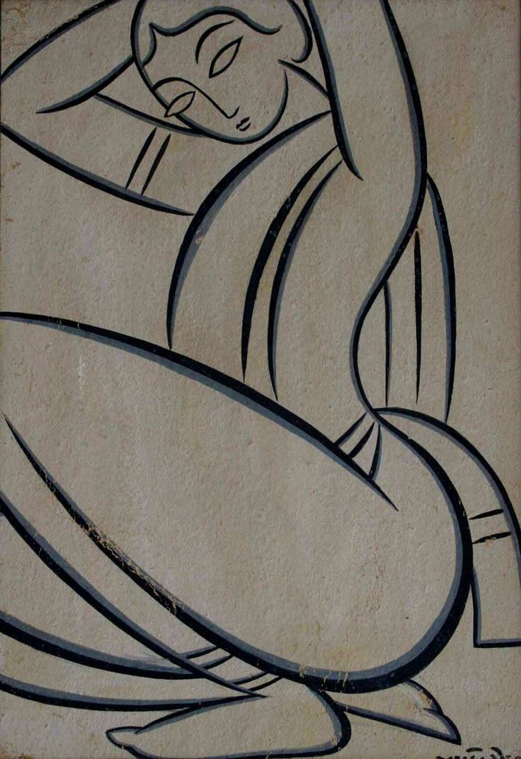 Sketch of a lady by Jamini Roy. Drawn with simple strokes, his paintings convey the essence of Indian folk art.