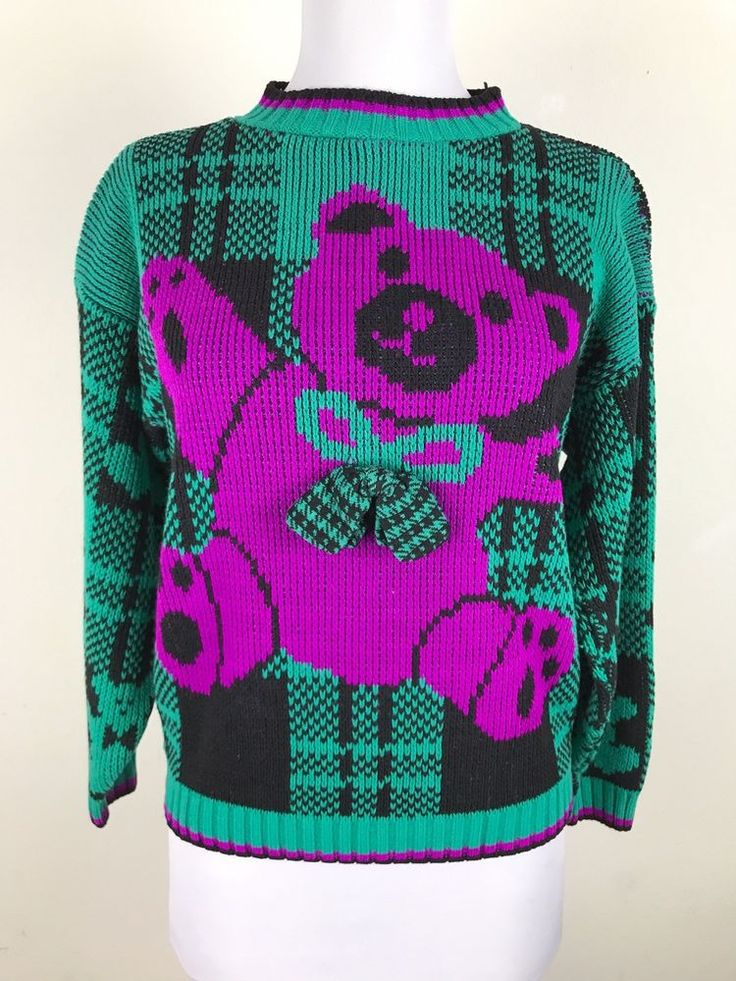 Vintage 1980s Sweater Girls Size M Medium 10 12 Teddy Bear Bow Purple Green  #GrandKnitWear #Holiday