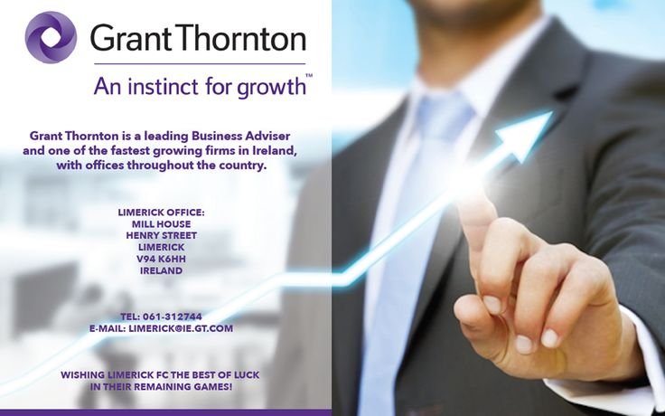 Our Match Sponsor this evening is Grant Thornton, a leading business adviser and one of the fastest growing firms in Ireland, with offices throughout the country including on Henry Street in Limerick. More: http://www.limerickfc.ie/derry-city-match-sponsor-grant-thornton