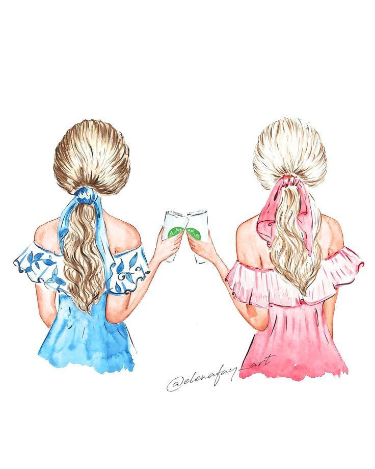 Картинки двух сестер для срисовки