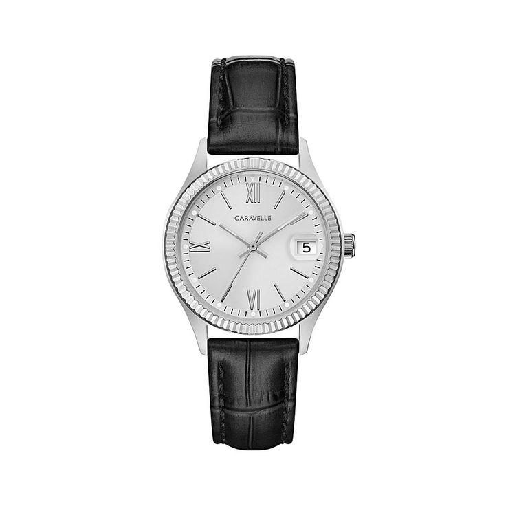 Caravelle New York by Bulova Silvertone Stainless Steel Coin-Edge Bezel Black Leather Strap Watch