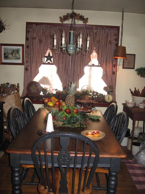 Primitive decorating ideas more primitive dining room - Dining room curtains ideas ...