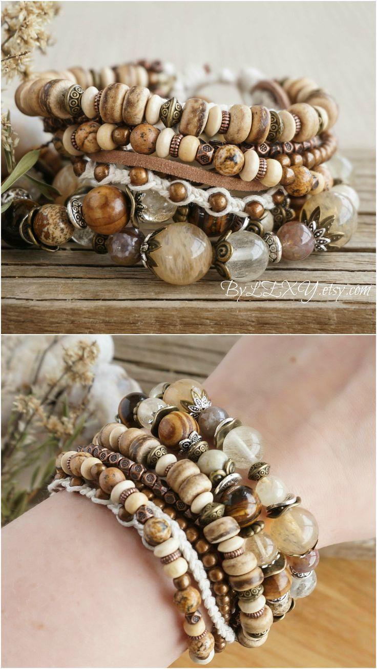 "Set of 3 Boho ""Summer Sun"" Multistrand Wrap Stack Bracelets, Bohemian Rustic Gypsy Earthy Maltilayering Beachy Jewelry Bracelets Sale ByLEXY"