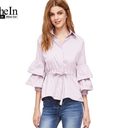SheIn Women's Tops and Blouses Shirt Pink Layered Three Quarter Length Flare Sleeve Drawstring Waist Cute Blouse
