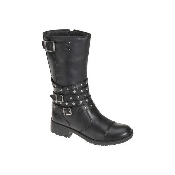 Women's Harley-Davidson Kennedy - Black Leather Leather Boots ($160) ❤ liked on Polyvore
