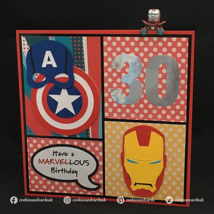 Handmade Marvel / Avengers Birthday Card Design Featuring