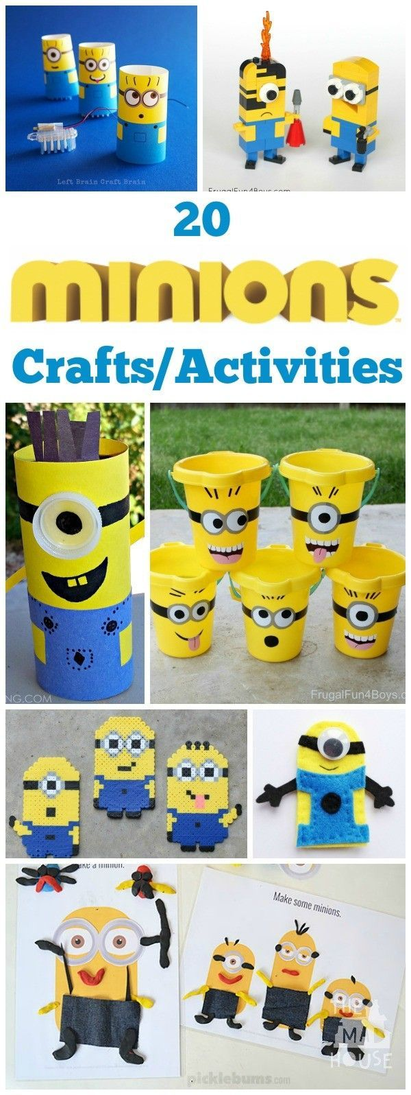 All things Minion.  20 Minion DIY crafts and activities for kids.  Celebrate all; things Minion with this fab Minion roundup.