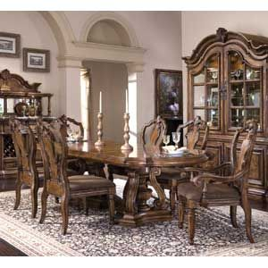San Mateo Seven Piece Double Pedestal Oval Top Dining Table And Chair Set By Pulaski Furniture