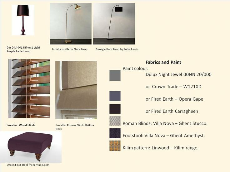 3. Purple Room - Materials and complementary furniture