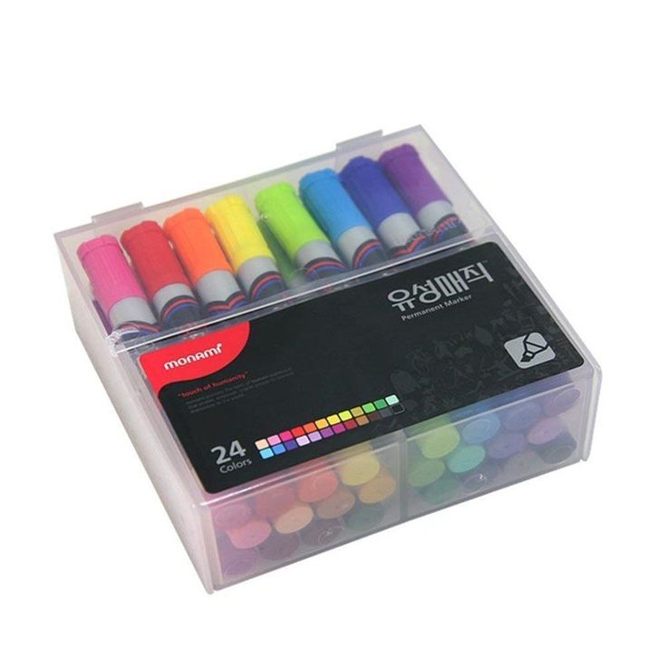 Monami Oil-based Permanent Marker 1~4mm With Case Magic Ink 24 Color Chisel Tip #Monami