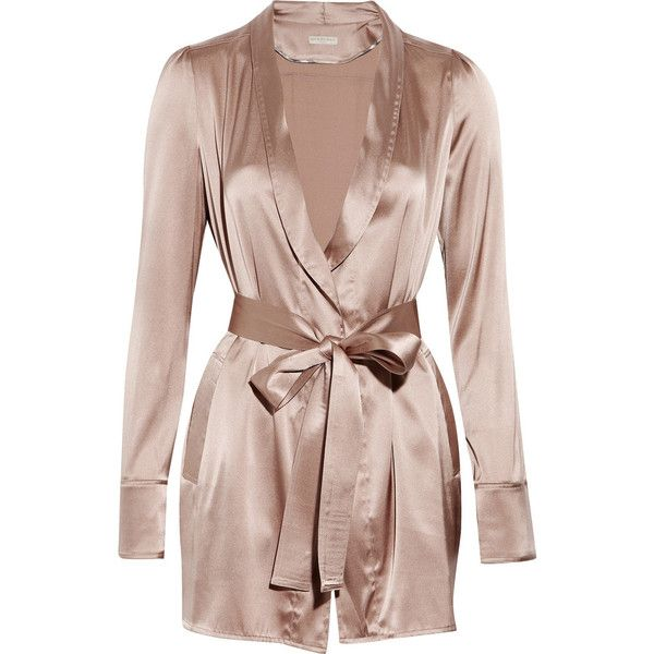 Burberry Belted silk-satin robe (€195) ❤ liked on Polyvore featuring intimates, robes, lingerie, pajamas, underwear, women, burberry robe, dressing gown, bath robes and long sleeve lingerie