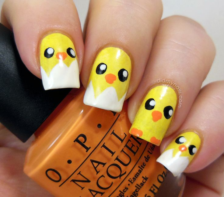 baby chick easter nail art check out www.MyNailPolishObsession.com for more nail art ideas.