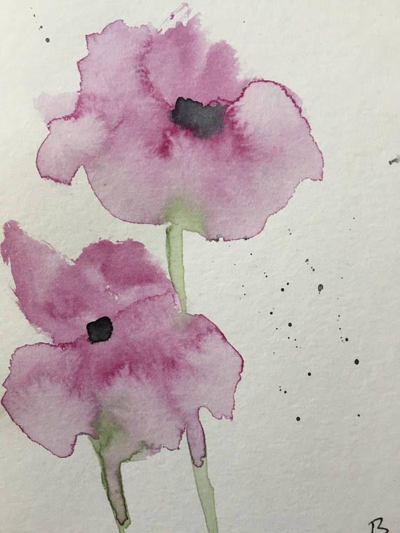 ORIGINAL AQUARELL Aquarellpostkarte Lila Blumen Bild Kunst Art Watercolor purple Flowers Flower Handmade