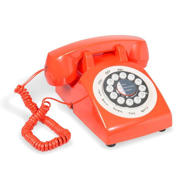 Téléphone vintage en plastique corail CAPRI