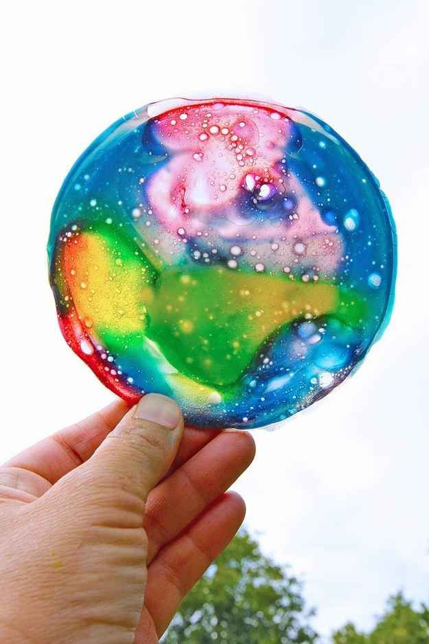Create a sun catcher using slime.