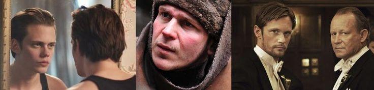17 augustus 2013: Hemd en rok. Foto: (vlnr) Bill Skarsgård  in Hemlock Grove (2013– ), Gustaf Skarsgård in zijn Hollywood debut The Way Back (I) (2010), Alexander Skarsgård  meest bekend van zijn rol als Eric Northman in True Blood (2008– ), maar hier naast zijn vader Stellan Skarsgård  in Melancholia (2011).