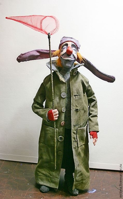 """Купить Авторская кукла """"Клоун Полунин"""" - клоун, авторская кукла, грустный забавный, полунин"""
