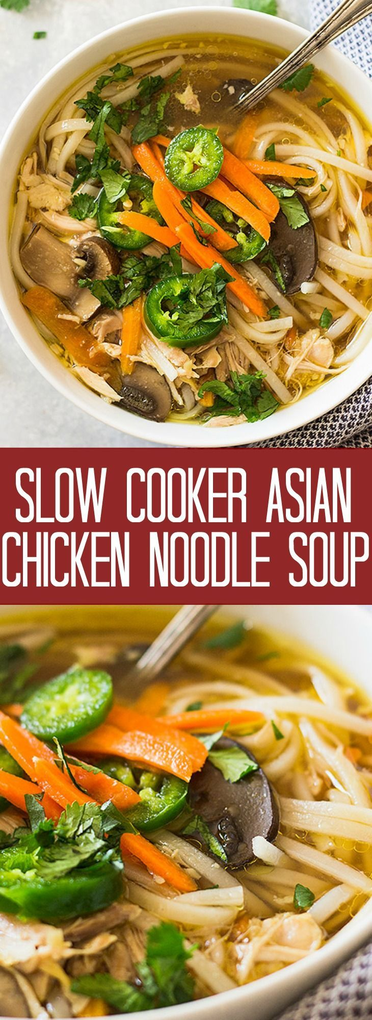 This Slow Cooker Asian Chicken Noodle Soup puts a twist on the classic. With a flavorful broth, mushrooms, ginger, garlic, chicken thighs and noodles all made in the crockpot!
