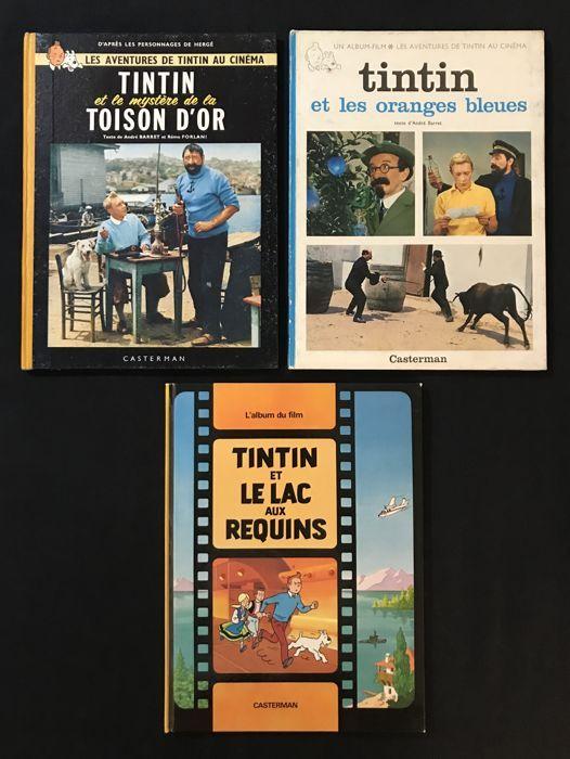 """Tintin film T1  T2 T3 - 3 x C - EO (1962-1973)  Reeks van de eerste 3 avonturen van Kuifje in de Cinema Edition origineel en in zeer goede staat.Laptops zijn dicht bij de negen tot negen allemaal perfect aangesloten.1 - Kuifje en het mysterie van het goud Fleece EO 1962 4e schotel B31bis2 - Kuifje en de blauwe sinaasappelen EO 1965 titels op 3 kolommen top titel """"juwelen van de Castafiore""""3 - Kuifje en de poel van haaien EO 1973 serie van Quick en Flupke gewaardeerd """"tijdelijk uitgeput""""…"""