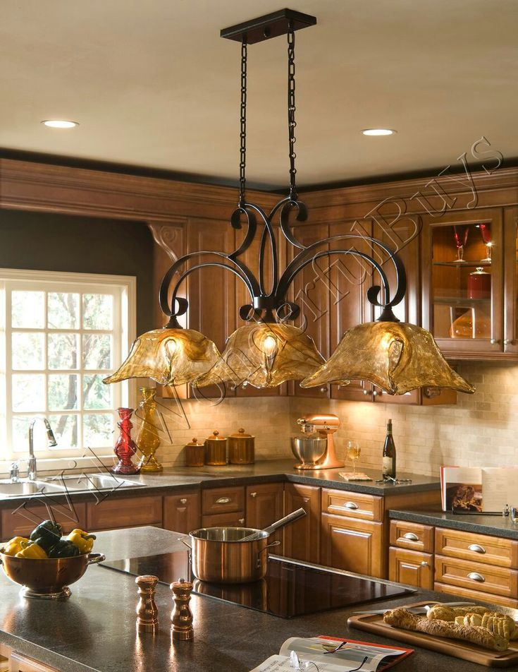 French Country 3 Light Tulip Chandelier Kitchen Island Pendant Iron Glass New