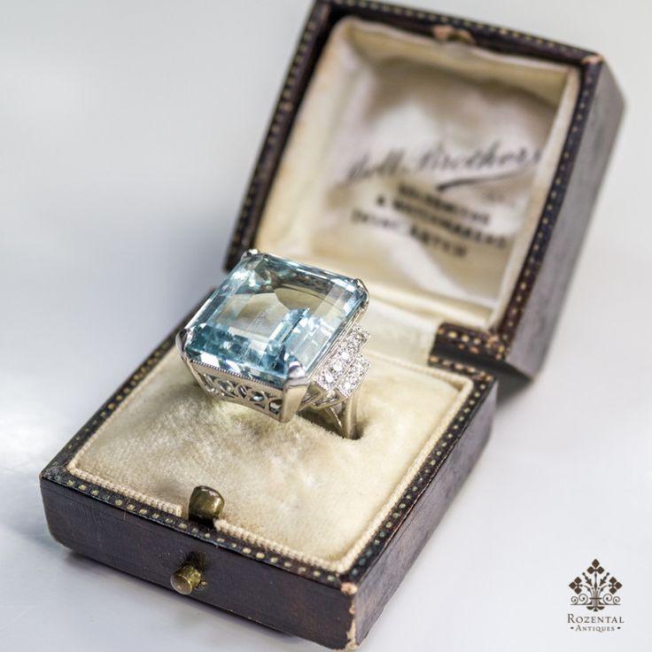 Antique Art Deco Platinum Diamond & Aquamarine Ring (hva)