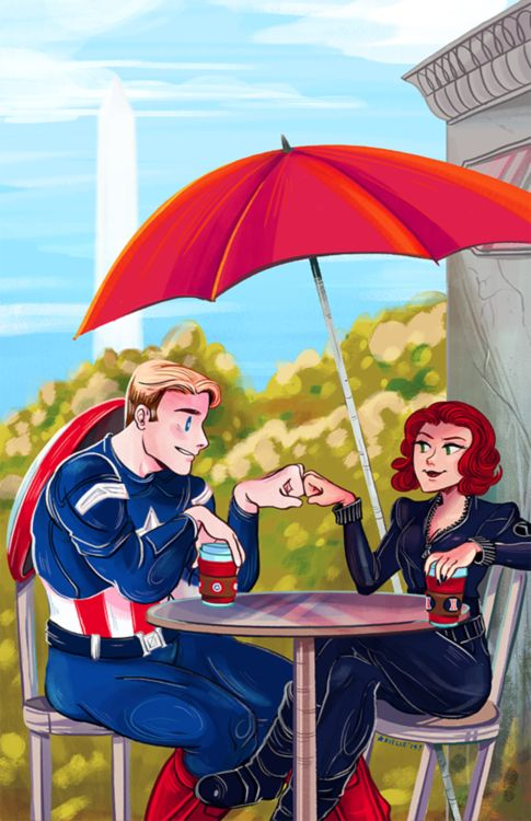 Captain America and Black Widow, chilling in D.C.
