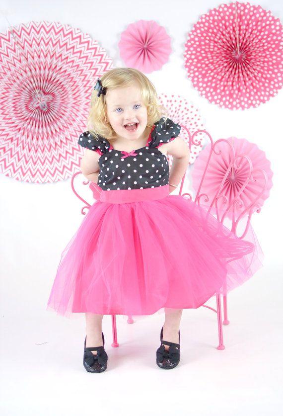 VESTIDO del tutú, vestido rosado del tutú, vestido de lunares, vestido de la muchacha de flor, vestido de cumpleaños, las niñas tutu vestido, vestido del bebé rockabilly