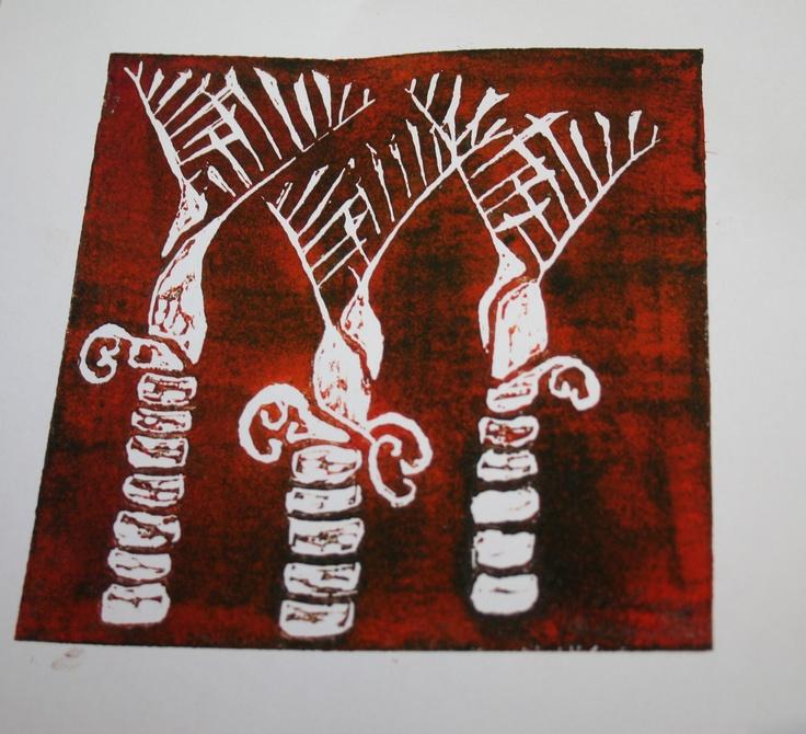 Linocut - Nikau palms