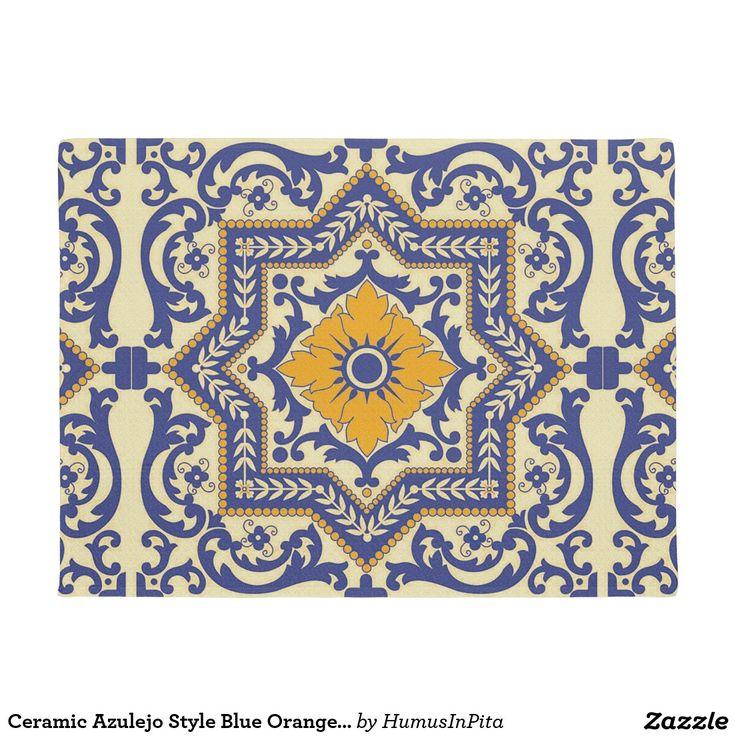 Ceramic Azulejo Style Blue Orange Door Mat Doormat