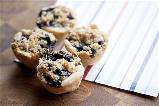 Mini Blueberry Pies - These are absolutely DELICIOUS!  Relatively easy to make and pretty little desserts.  Made them with fresh blueberries and the strusel topping.  Used store bought pie crust and a biscuit cutter about 2 1/2 inches for the bottom crust.  Make these today!  You will not be disappointed.