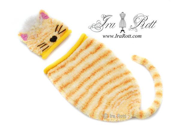 Kitty Hat and Sleeping Bag Set ( Cocoon )for Newborn    It is super soft and so cozy, made out of fuzzy baby yarn.... Just perfect for first baby pictures!  Includes Hat and sleeping bag / cocoon with attached kitty tail.    COLOR: Yellow with orange stripes