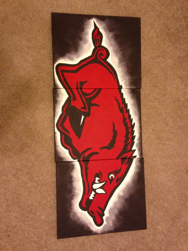 Arkansas Razorback canvas painting that's by ScribblerWorks, $150.00