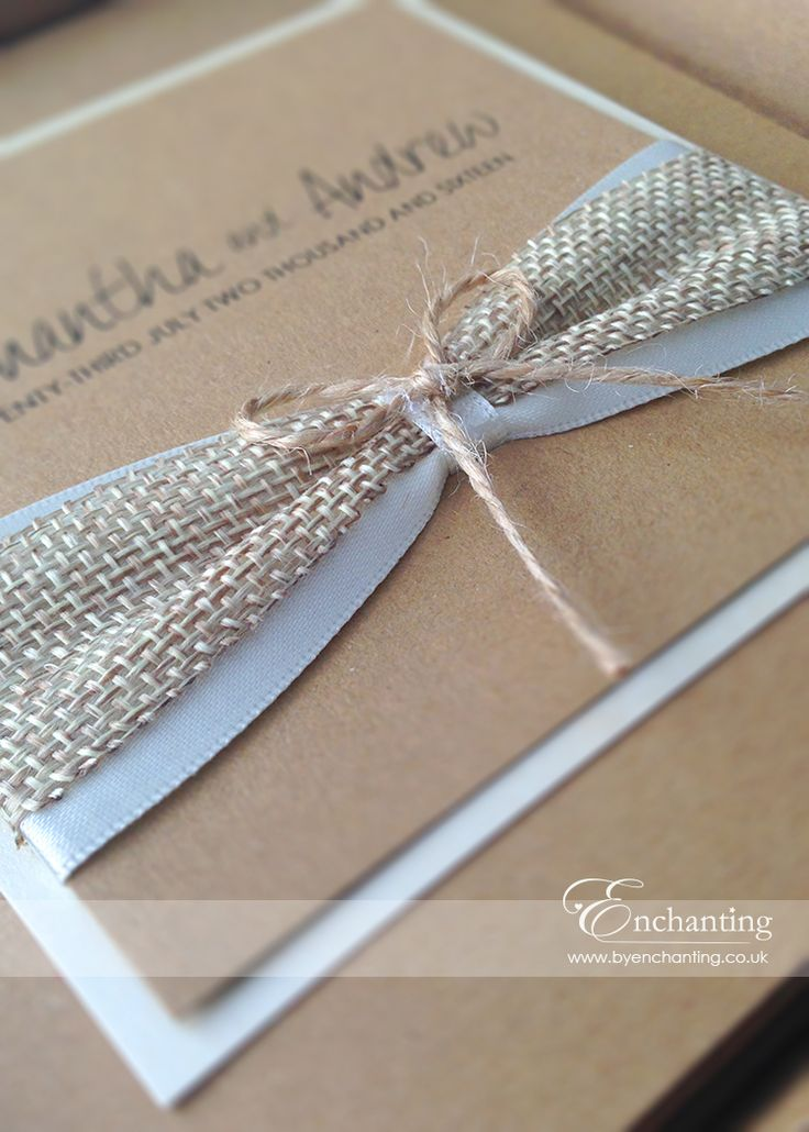 Rustic Wedding Invitations with Hessian and Twine Bow
