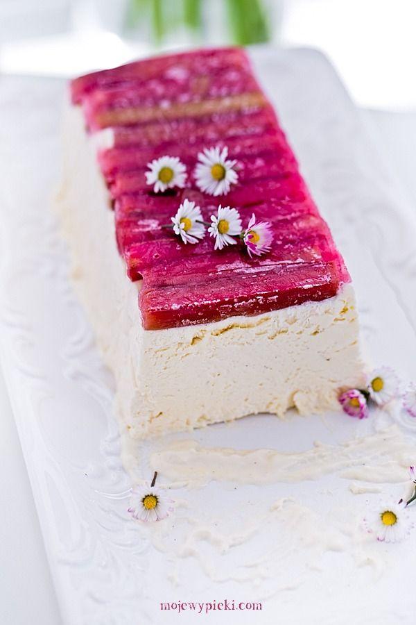 semifreddo z wanilia i rabarbarem moje wypieki tort lodowy do krojenia