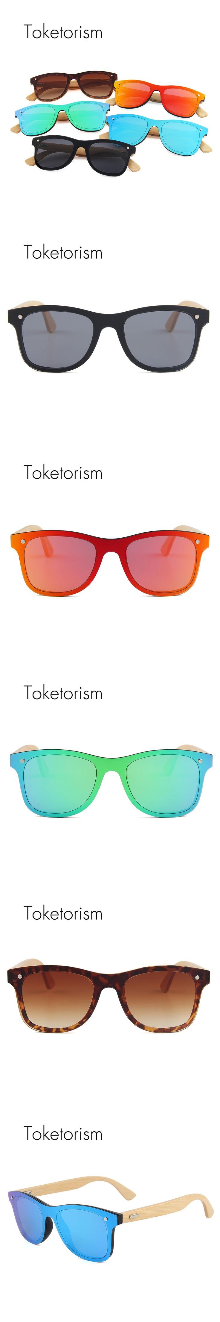 Toketorism brand designer retro fashion blue mirror sunglasses men women bamboo wood sun glasses 713