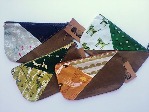 Mermaid!! Tri-colored clutch tan leather by OneShabbyChickHawaii on Etsy