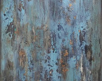 Turquoise Blue and Gold Leaf Distressed Texture Abstract Painting 18 x 24 Canvas Wall Art - Edit Listing - Etsy