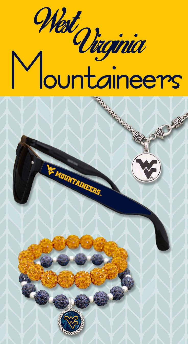 West Virginia Mountaineers Bling Bracelets, Logo Sunglasses, Necklaces and more!
