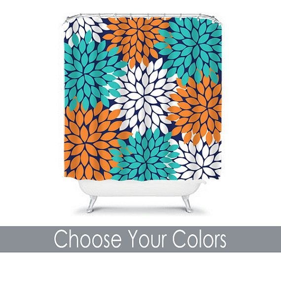 Shower Curtain CUSTOM You Choose Colors Navy Turquoise Orange Flower