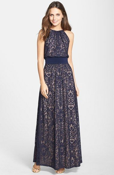 Maggy London Lace Halter Maxi Dress available at #Nordstrom