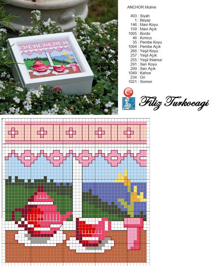Banyoda işiniz bittiyse, çayınız hazır ! Afiyet olsun :) Designed and stitched by Filiz Türkocağı... ( Box 1 )