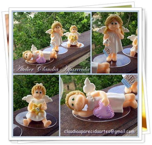 Trio de Meninas Anjo modeladas em biscuit (porcelana fria ou polymer clay)  http://www.elo7.com.br/topo-de-bolo/al/7CA45